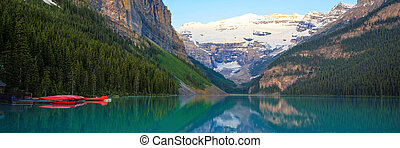 banff, louise, parc, national, canoë, lac, rouges