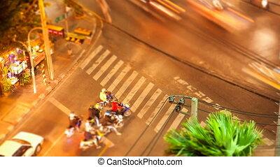 bangkok, croisement, timelapse, rue