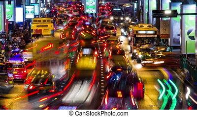 bangkok, défaillance, soir, trafic, temps