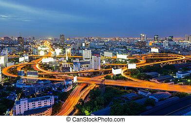bangkok, en ville, horizon, ville