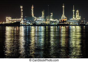 bangkok, huile, scène, raffinerie, nuit, thaïlande