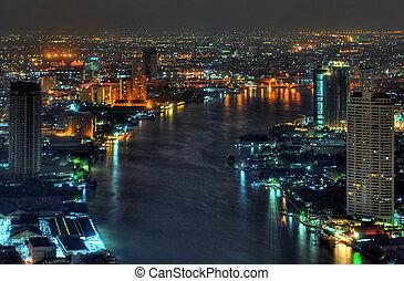 bangkok, phraya, rivière, chao