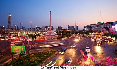 bangkok, timelapse, -, victoire, monumen