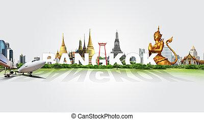 bangkok, voyage, concept