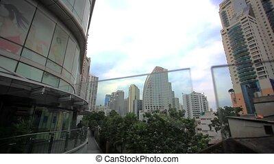 bangkok, zone affaires, élevé, cityscape, hd., 1920x1080, bâtiment.