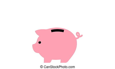 bank., pièces, channel., seamless, vidéo, porcin, automne, alpha, hd
