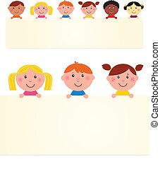 banner., vecteur, enfants, vide, six, illustration., multiculturel