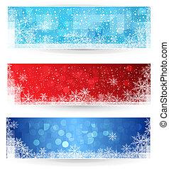 banners., ensemble, hiver, noël