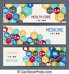 banners., santé médicale, horizontal, soin
