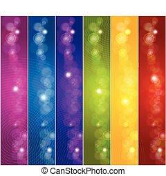banners., vecteur, ensemble, coloré