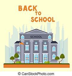 bannière, école, bâtiment