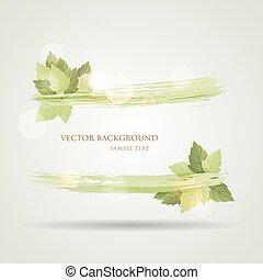 bannière, été, feuilles, ensoleillé, vert