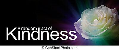 bannière, acte, gentillesse, rose, aléatoire