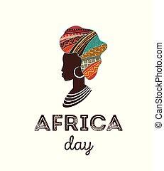 bannière, affiche, afrique, day., vecteur, carte, heureux