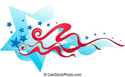 bannière, américain, 2, -, drapeau