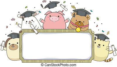 bannière, animal, diplômé