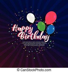 bannière, anniversaire, confetti, heureux, ballons, célébration