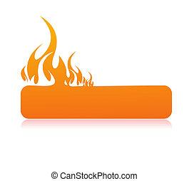 bannière, brûlé, flamme