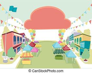 bannière, campus, école, festival, illustration