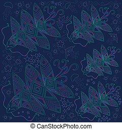 bannière, clair, illustration, océan, créature, fantastique, beau
