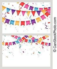 bannière, coloré, célébration, anniversaire, drapeaux, bruant