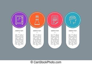 bannière, coloré, icônes, texte, échantillon, cercle