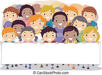 bannière, enfants, tenue