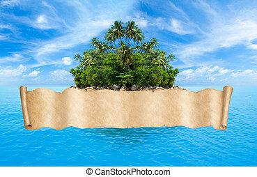 bannière, exotique, carte, pirates, océan, sur, île