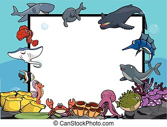 bannière, grand, animal mer