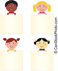 bannière, heureux, mignon, enfants, vide, multiculturel