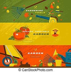 bannière jardinage, illustration, stockage, ensemble, vecteur, passe-temps, outils, légumes