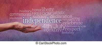 bannière, jour, indépendance