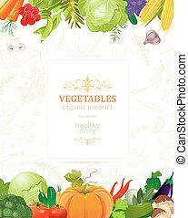 bannière, légumes, frontière, ton, conception