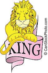 bannière, lion, roi