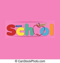 bannière, logo, education, dos, icône, école