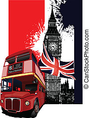 bannière, londres, grunge, autobus