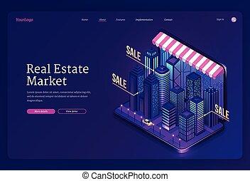 bannière, marché, vecteur, immobiliers, ligne