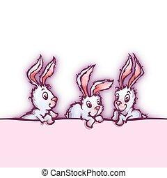 bannière, mignon, vecteur, lapins, dessin animé