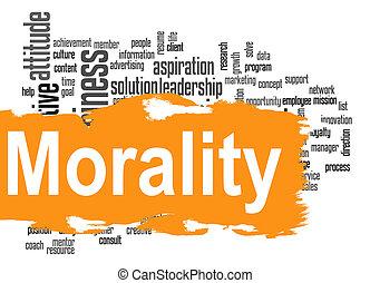 bannière, mot, nuage, jaune, moralité