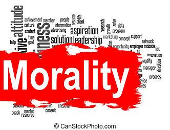 bannière, mot, rouges, nuage, moralité