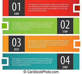 bannière, set., étapes, options, infographics
