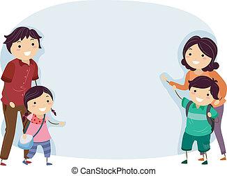 bannière, stickman, famille