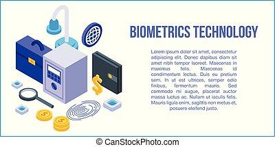 bannière, technologie, concept, biométrie, style, isométrique