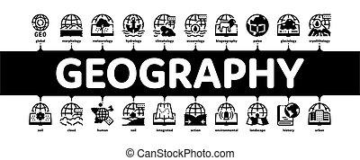 bannière, vecteur, education, minimal, infographic, géographie