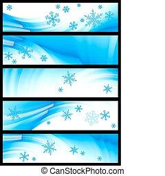 bannière, vecteur, hiver