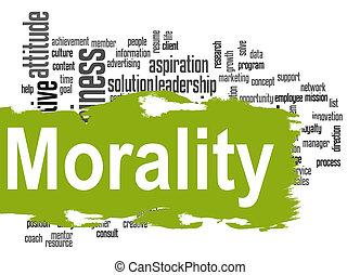 bannière, vert, mot, nuage, moralité