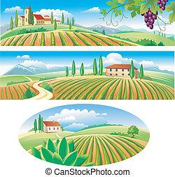 bannières, agriculture, paysage