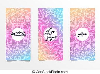 bannières, brosse, gabarit, yoga, couleur, leaflets, sites, ensemble, arrière-plan., posters., mandala, spirituel, main, développement, mandalas, 3, gradient, clair, lettering.