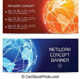 bannières, concept, globe, réseau