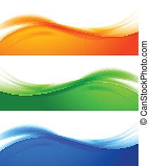 bannières, ensemble, coloré